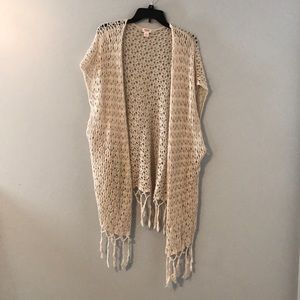 Cream short sleeve cardigan